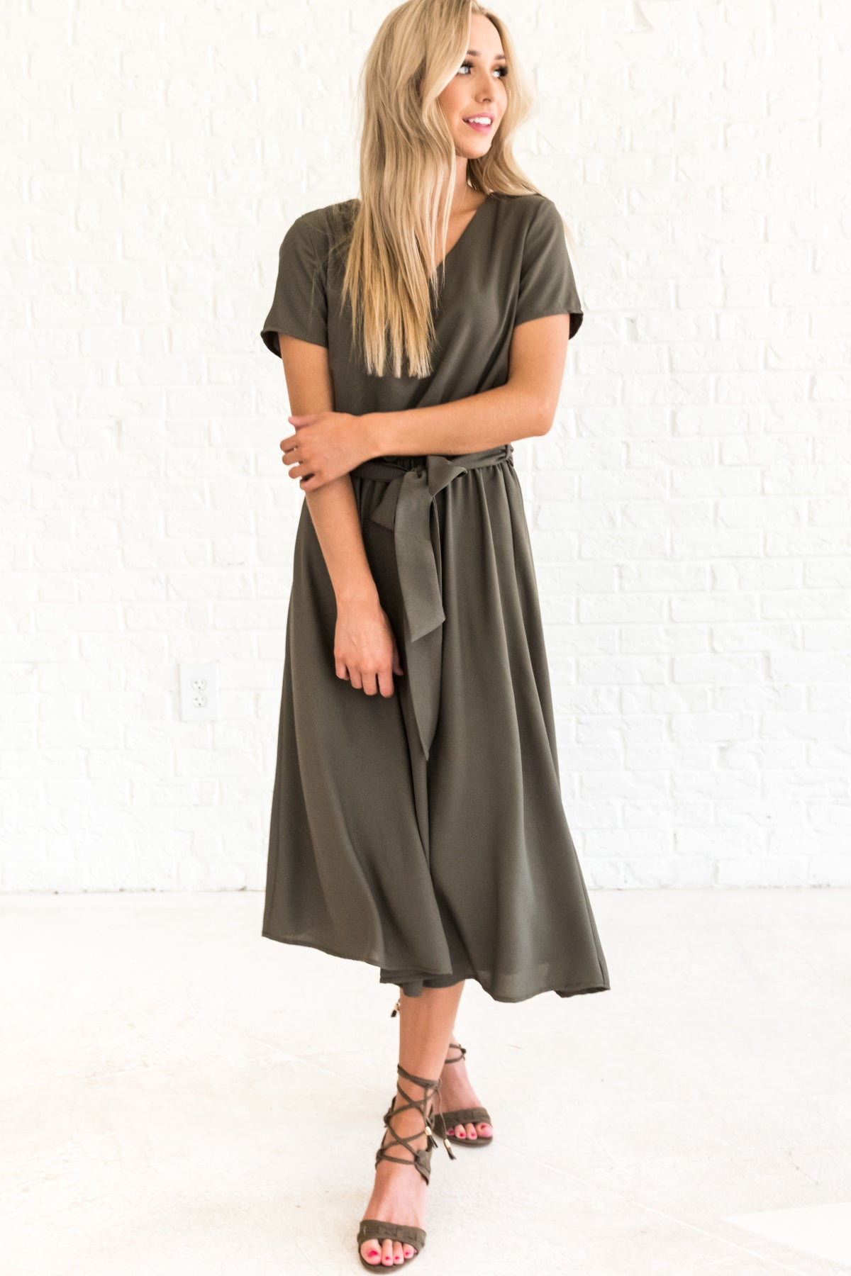 8792a7bd0c9f More Than Enough Olive Green Midi Dress