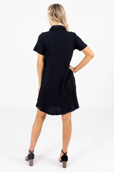 Women's Black Shirt Collar Style Boutique Mini Dress