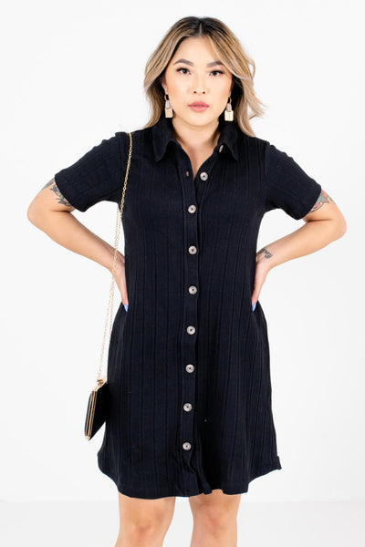 Black Button-Up Front Boutique Mini Dresses for Women
