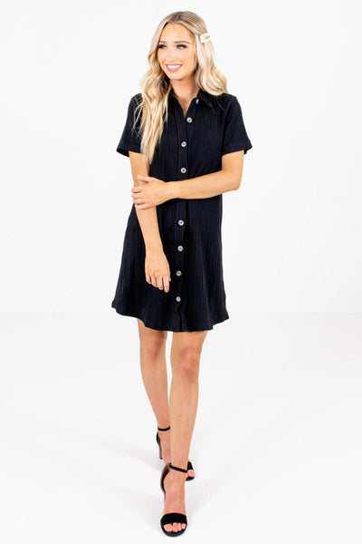 Women's Black Short Sleeve Boutique Mini Dress
