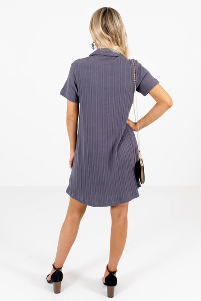 Women's Slate Gray Shirt Collar Style Boutique Mini Dress