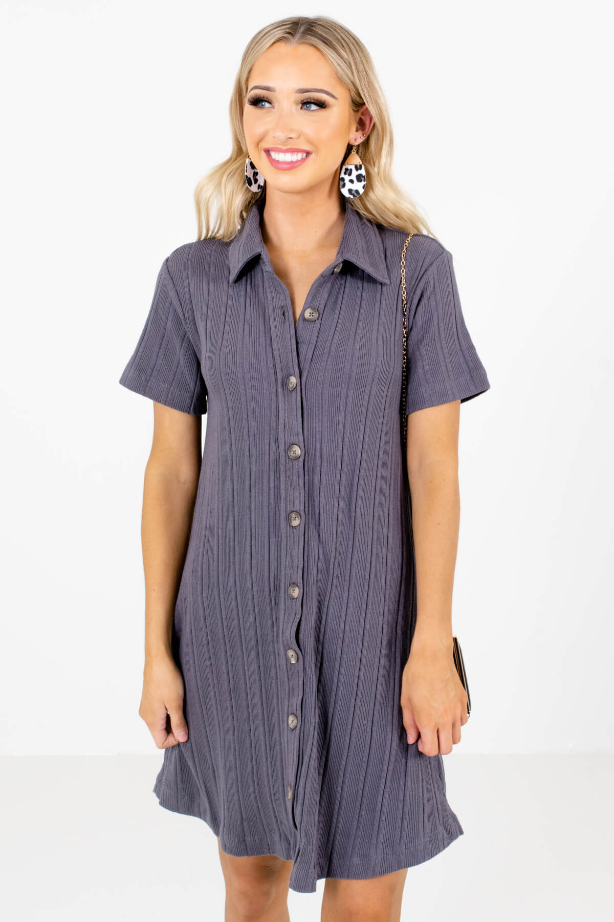 Slate Gray Button-Up Front Boutique Mini Dresses for Women