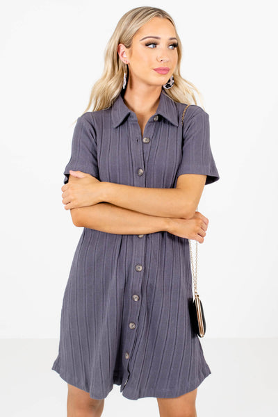 Women's Slate Gray Short Sleeve Boutique Mini Dress