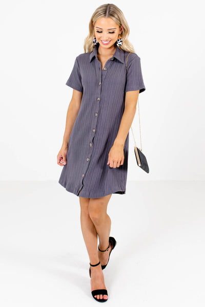 Women's Slate Gray Business Casual Boutique Mini Dress