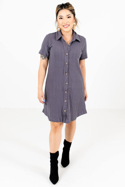 Slate Gray Date Night Boutique Mini Dresses for Women