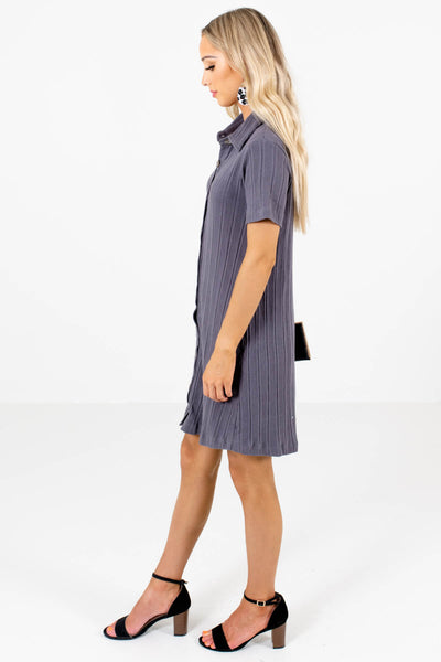 Slate Gray High-Quality Ribbed Material Boutique Mini Dresses for Women