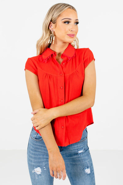 Women's Red High-Low Hem Boutique Shirt