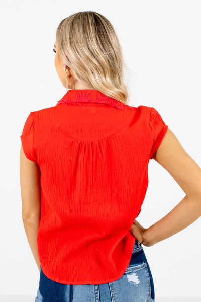 Women's Red Frayed Collar Boutique Shirt