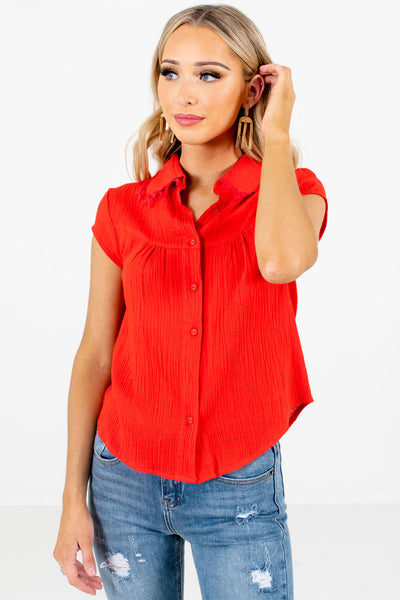 Red Button-Up Front Boutique Shirts for Women