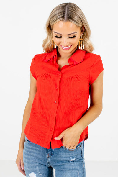 Red Business Casual Boutique Shirts for Women
