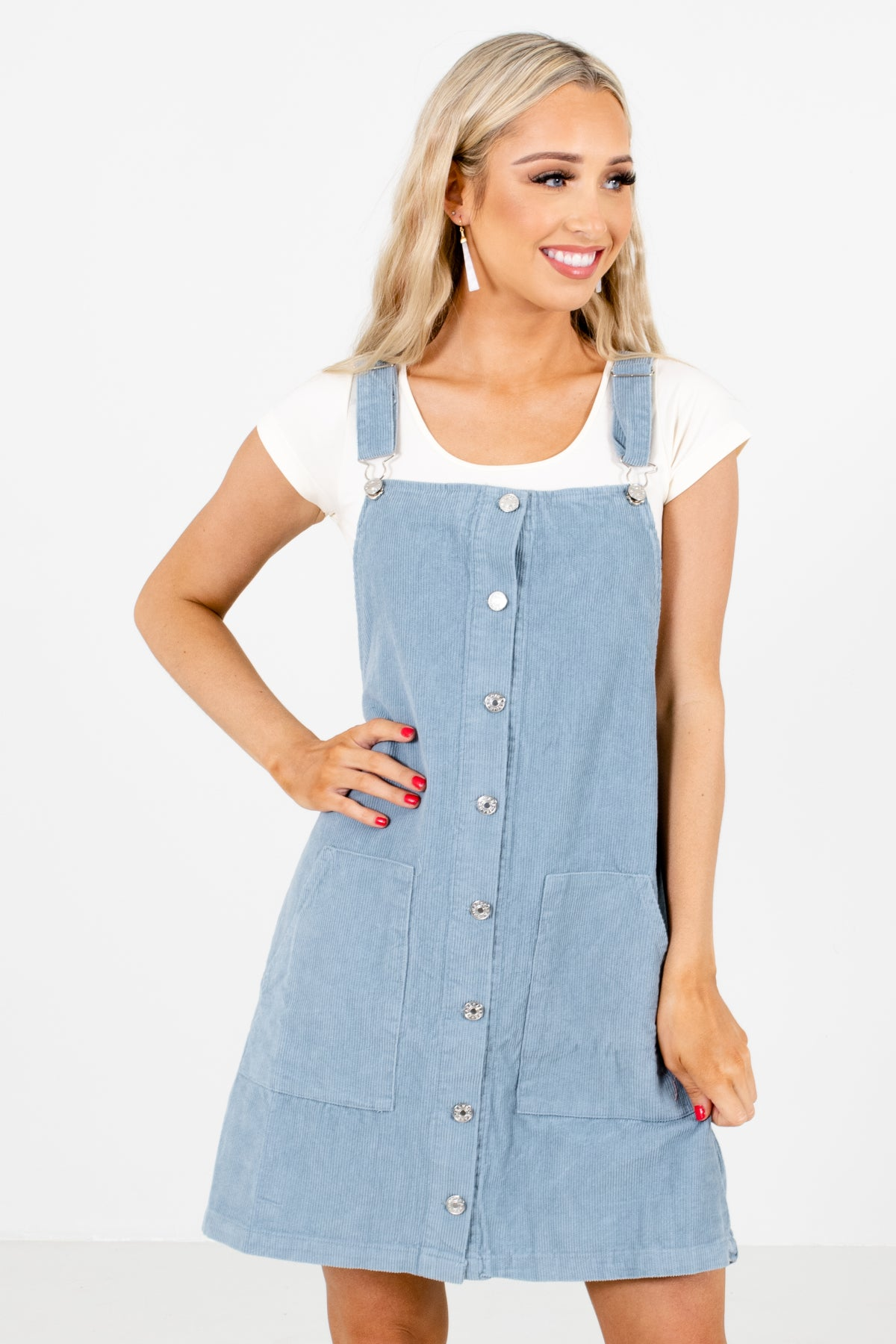 Blue Pinafore Style Boutique Mini Dresses for Women