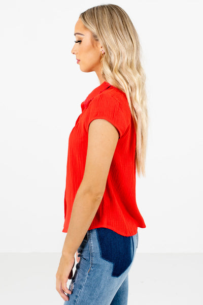 Red V-Neckline Boutique Shirts for Women