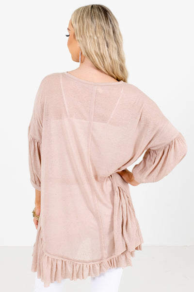 Women's Beige Pleated Accented Boutique Top