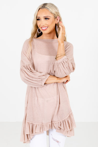 Beige High Round Neckline Boutique Tops for Women