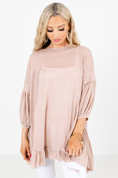 Women's Beige Long Length Boutique Tops
