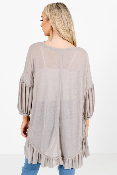 Women's Gray Ruffled Hem Boutique Top