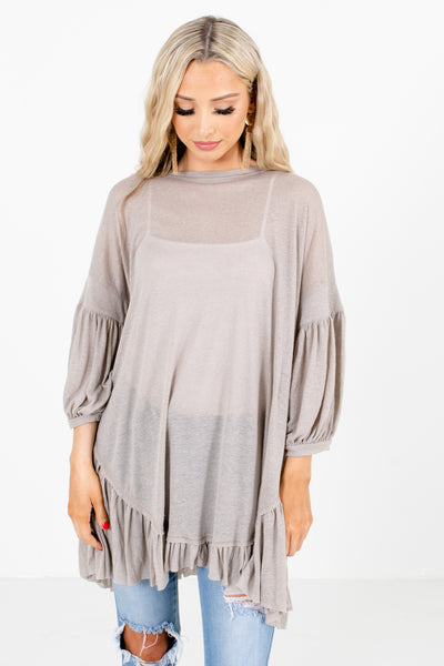 Gray Bishop Sleeve Boutique Tops for Women
