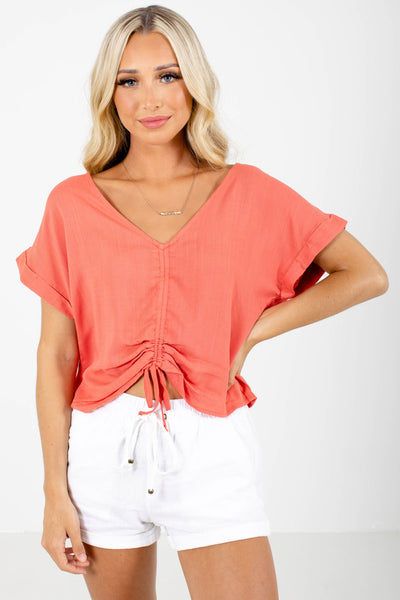 Coral Ruched Drawstring Detail Boutique Tops for Women