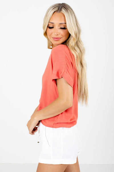 Coral Cuffed Sleeve Boutique Tops for Women