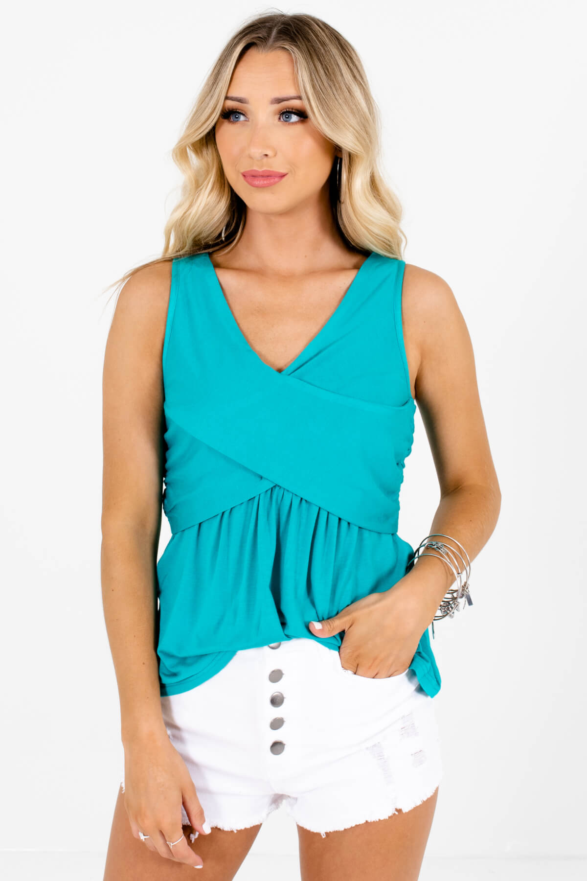 Teal Blue Green Faux Wrap Tank Tops Affordable Online Boutique