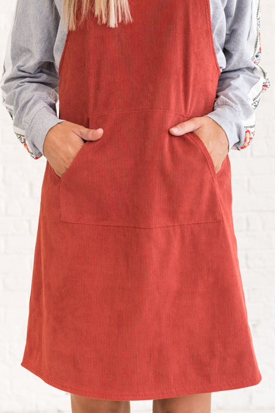 Rust Red Layering Short Dresses with Pockets for Women