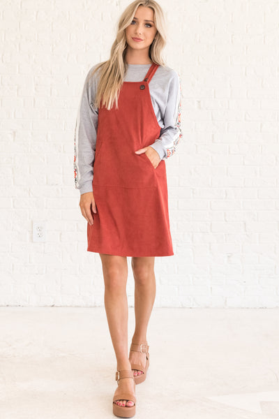 Rust Red Fall Overall Dresses for Women
