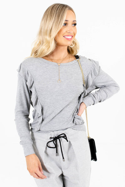 Women's Heather Gray Relaxed Fit Boutique Tops