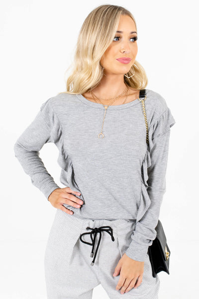 Heather Gray Ruffle Accented Boutique Tops for Women