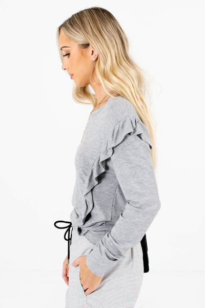 Heather Gray Ribbed Material Boutique Tops for Women