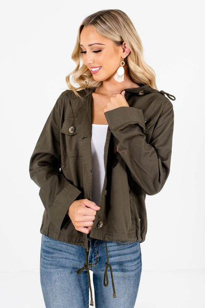 Olive Green Warm and Cozy Boutique Jackets for Women