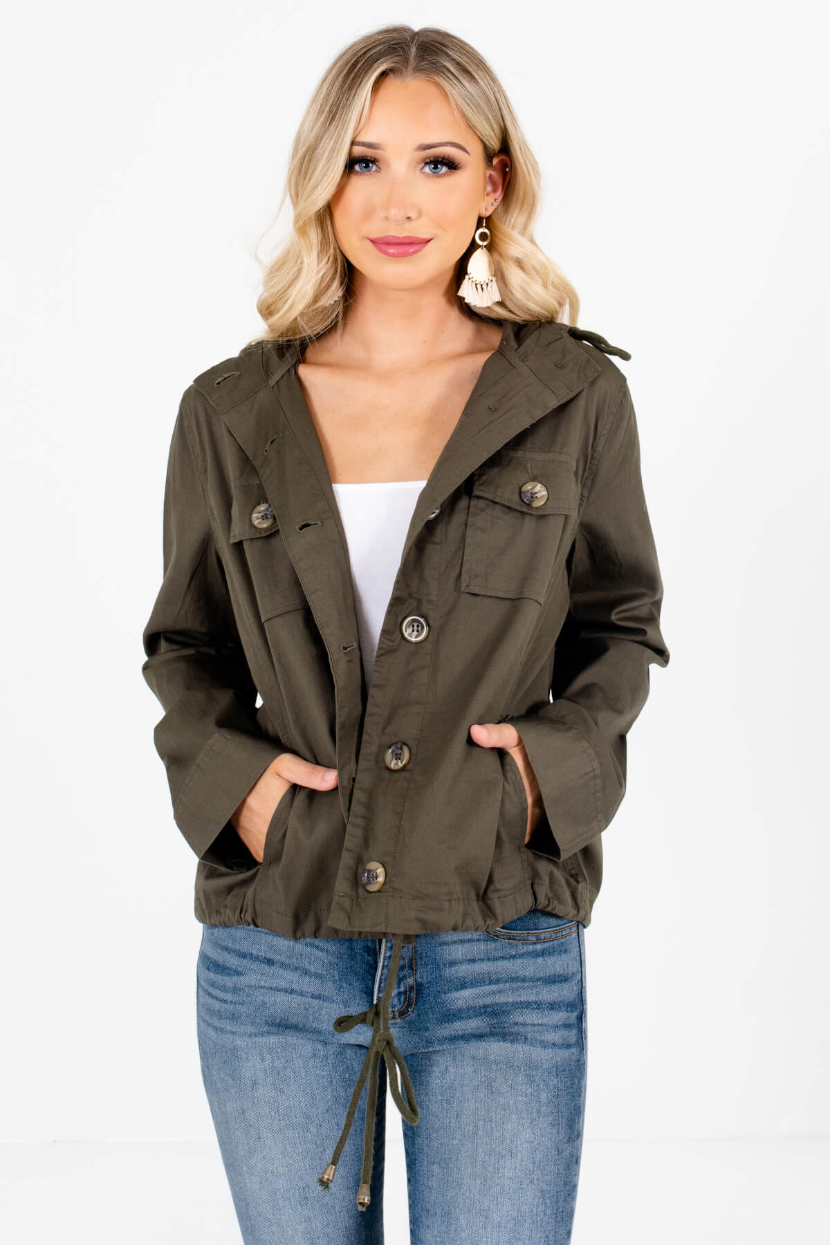Olive Green Button-Up Front Boutique Jackets for Women