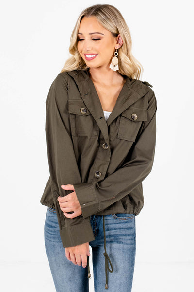 Women's Olive Green Boutique Outerwear
