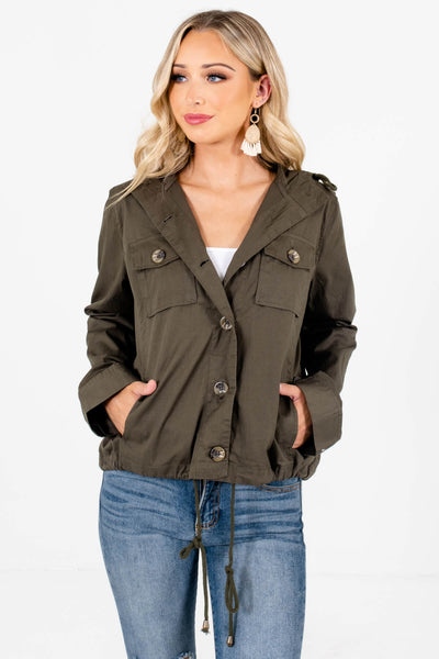 Women's Olive Green Lightweight High-Quality Material Boutique Jacket