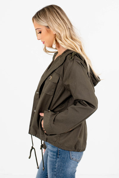 Olive Green Boutique Jackets with Pockets for Women