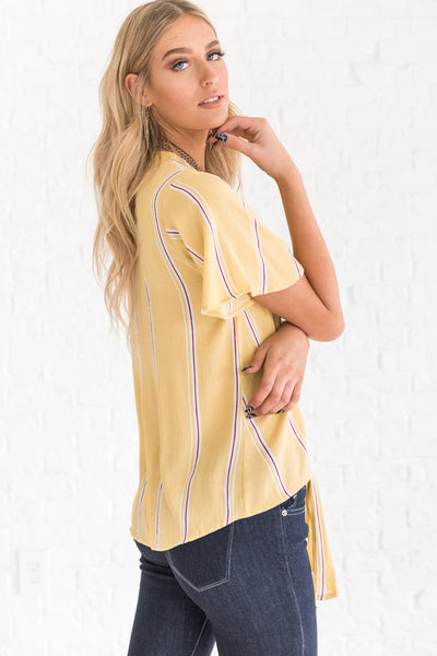 boutique top in yellow with thin stripes