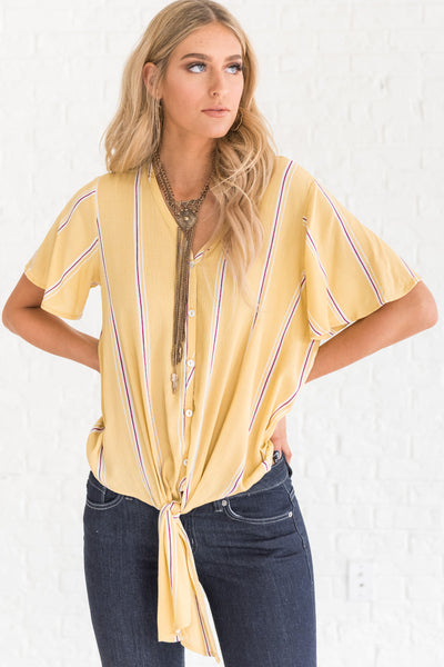 yellow boutique top with front knot tie