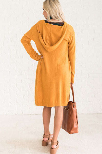 Mustard Yellow Women's Hooded Cardigans Cozy Warm Clothes