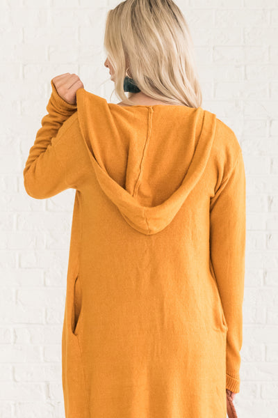 Mustard Yellow Cute Women's Outerwear Winter Cozy Warm Clothes