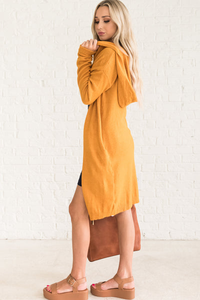 Mustard Yellow Casual Fall Clothing for Women Cozy Warm Clothes