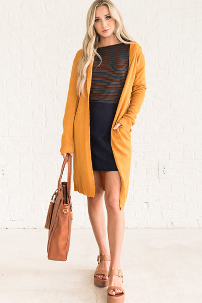 Mustard Yellow Long Cardigans for Women Cozy Warm Clothes