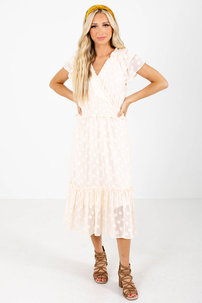 Women's Cream Cute and Comfortable Boutique Midi Dress