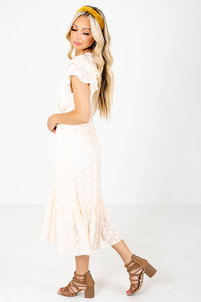 Cream Smocked Waistline Boutique Midi Dresses for Women