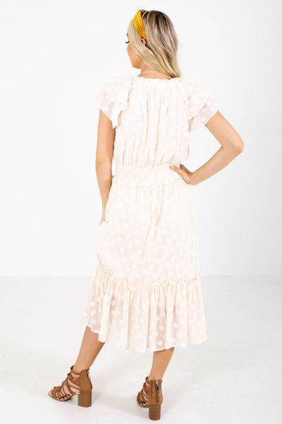Women's Cream Ruffled Hem Boutique Midi Dress