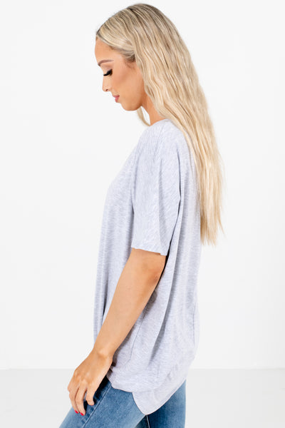 Women's Gray High-Low Hem Boutique Top