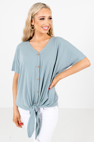 Green High-Quality Stretchy Material Boutique Tops for Women
