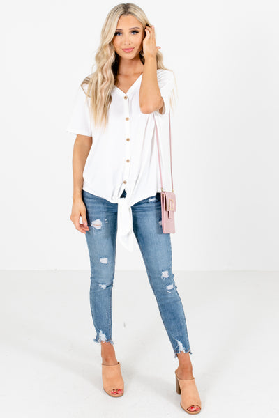 Women's White Self-Tie Front Boutique Top