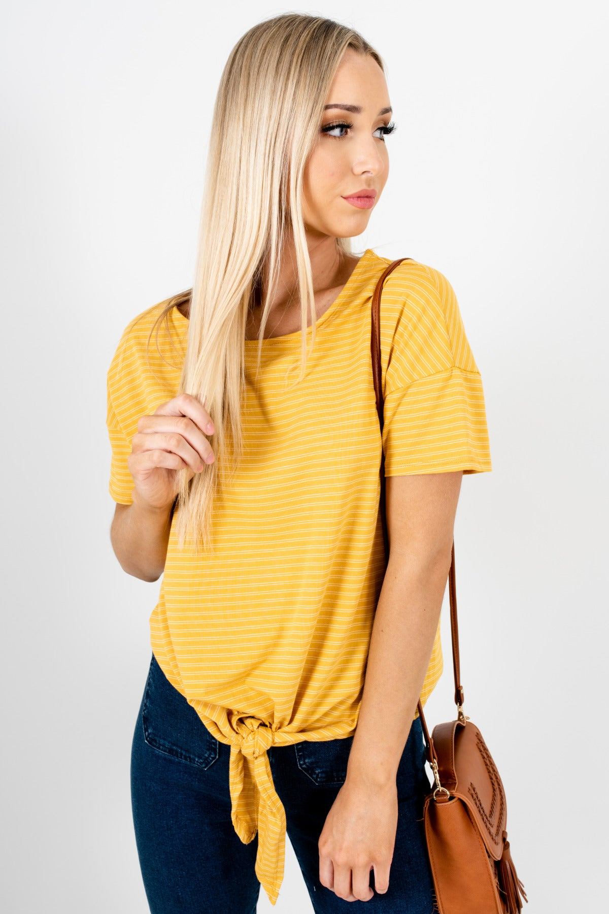 Mustard Yellow White Striped Tie Front Tops Affordable Online Boutique