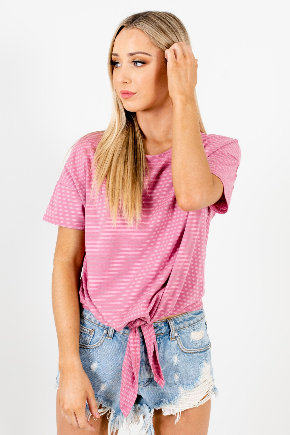 Pink White Striped Cute Tie Front Tops Affordable Online Boutique