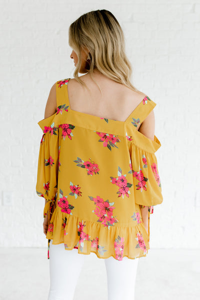 Mustard Yellow Women's Cold Shoulder Boutique Blouse