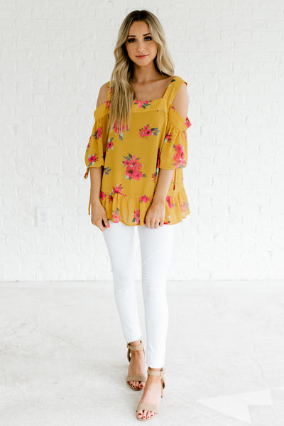 Mustard Yellow Women's Spring and Summertime Boutique Clothing